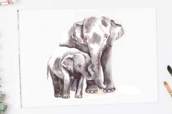 Watercolor Mother & Baby - Elephants - Clip Art & Print