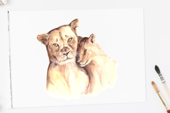 Watercolor Mother & Baby - Lions - Clip Art & Print
