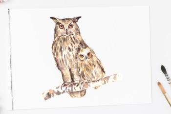 Watercolor Mother & Baby - Owls - Clip Art & Print