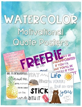 Watercolor Motivational Quote Posters FREEBIE