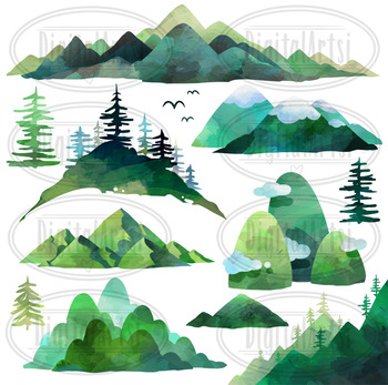 Watercolor Mountains Clipart