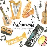 Watercolor Music Instrument Clip art set