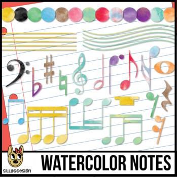 Watercolor Music Notes Clip Art