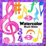 Watercolor Music Notes and Symbols Clip Art