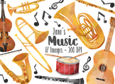 Watercolor Musical Instruments Clipart