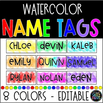 Watercolor Decor | Watercolor Name Tags | Student Name Tags | EDITABLE Name Tags