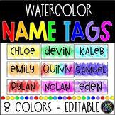 Watercolor Decor | Watercolor Name Tags | Student Name Tags | EDITABLE Name Tags