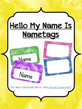 Watercolor Nametags