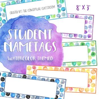 Editable Dot Watercolor Nametags Student Desk Name Tags