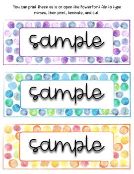 EDITABLE Dot Watercolor Nametags - Student Desk Name Tags