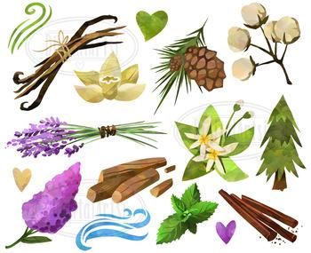 Watercolor Nature Scents Clipart
