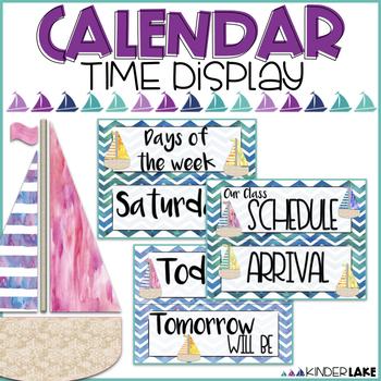 Watercolor Nautical Classroom Calendar & Schedule Cards
