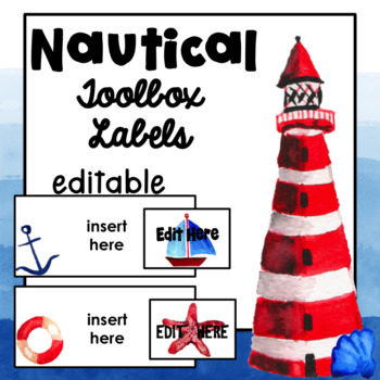Watercolor Nautical Theme Teacher Toolbox Labels {EDITABLE}