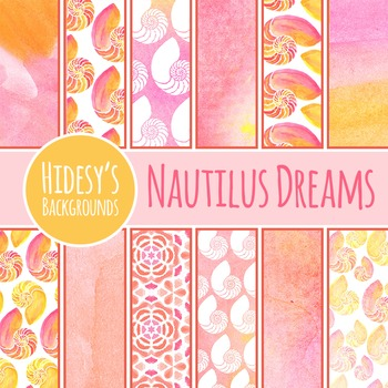 Watercolor Nautilus 2 Backgrounds / Digital Papers Clip Art for Commercial Use