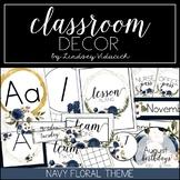 Watercolor Navy Floral Classroom Decor {EDITABLE}