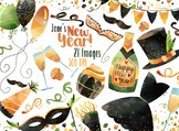 Watercolor New Year Clipart