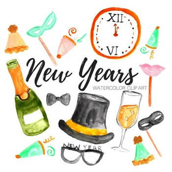 watercolor new years eve clipart by writelovely tpt watercolor new years eve clipart