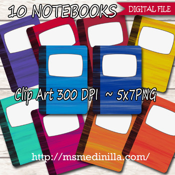 Watercolor Notebook clipart, notebook digital, Back to School, notebook clipart,