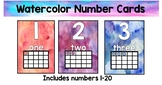 Watercolor Number Cards 1-20 with 10 frames