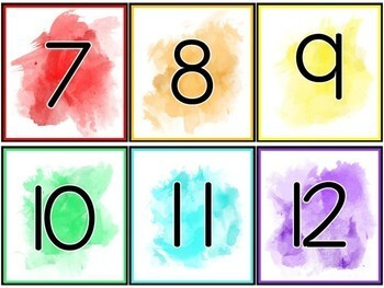 Watercolor Number Labels