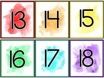 Watercolor Decor| Watercolor Labels | Classroom Number Labels | Number Labels
