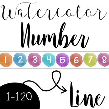 Watercolor Number Line 1-120