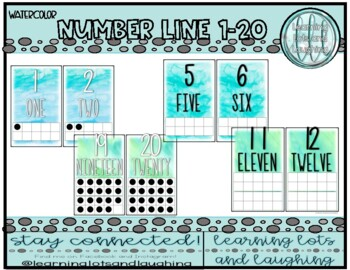 Watercolor Number Line (With 10 Frames)