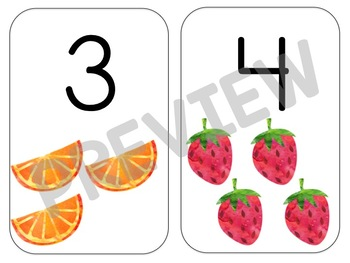 Watercolor Number Picture Cards - Number Wall Cards 1-10