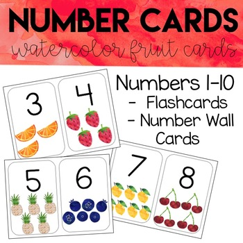 graphic regarding Printable Numbers 1 10 Flashcards named Watercolor Selection Envision Playing cards - Quantity Wall Playing cards 1-10