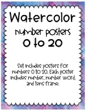 Watercolor Number Posters to 20