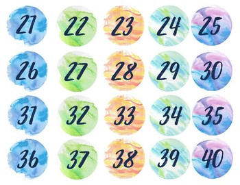 Watercolor Number and Alphabet Labels