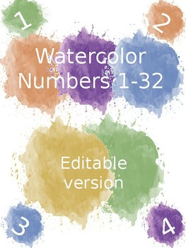 Watercolor Numbers 1 to 32 - EDITABLE