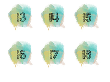 Watercolor Numbers (Blue)