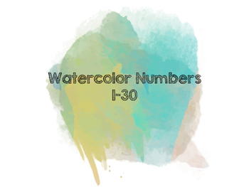 Watercolor Numbers (Blue)
