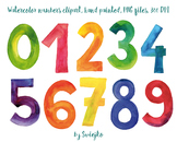 Watercolor Numbers, hand painted clipart, 123, counting illustration