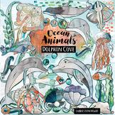Watercolor Ocean Animal Clip Art - Dolphin Cove Hand Drawn Graphics