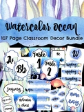Watercolor Ocean Classroom Decor Bundle  (under the sea)