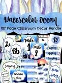 Watercolor Ocean Classroom Decor Bundle  (under the sea)