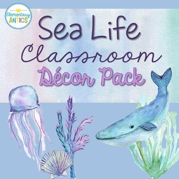 Watercolor Ocean Theme Editable Classroom Decor