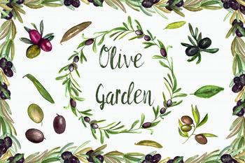 Watercolor Olive Garden Clip Art Set + Wreath & Border