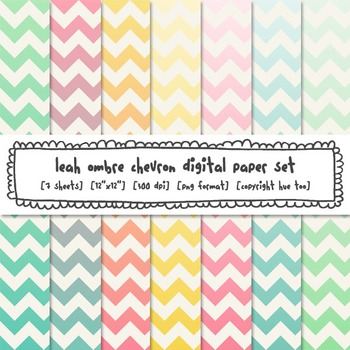 Watercolor Ombre Chevron Digital Paper Set in Pastel Colors, for TpT Sellers