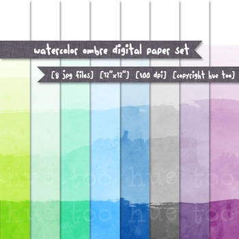 Watercolor Ombre Digital Paper Set: Blue, Green, Purple and Gray Watercolor