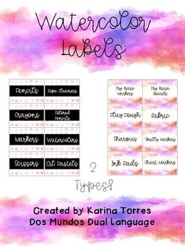 Watercolor Organization Labels *FREEBIE*