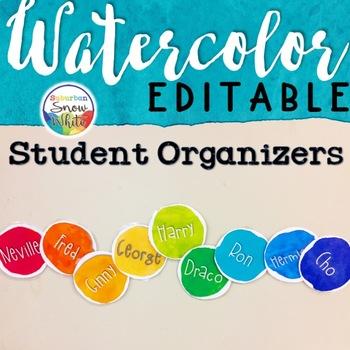 Watercolor Organizer Signs Labels EDITABLE ~ Back to School Decor