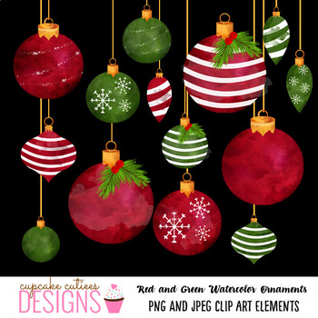 Watercolor Ornaments Red Green Christmas Clip Art Elements
