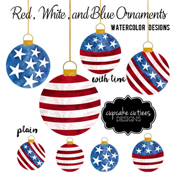 Watercolor Ornaments Red White and Blue Digital Clip Art Elements