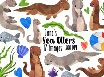 Watercolor Otters Clipart