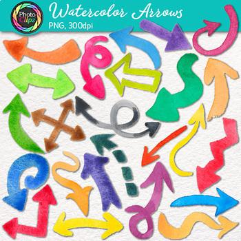 Watercolor Page Elements Clip Art Bundle {Washi Tape, Arrows, Flag, Borders}