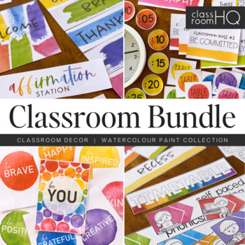 WATERCOLOR PAINT Classroom Decor BUNDLE