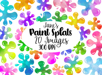 Watercolor Paint Splats Clipart